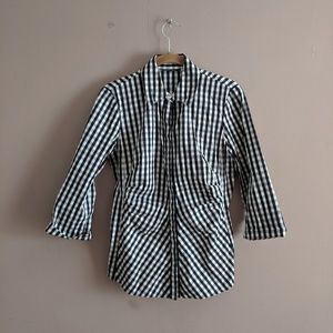 Lafayette 148 Sz 2 Leigh Gingham Ruched Blouse